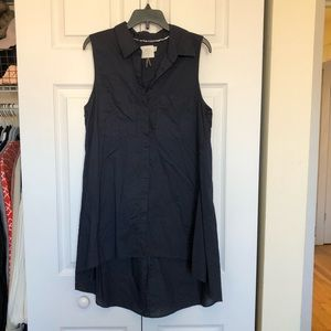 Navy Anthropologie tank with long train